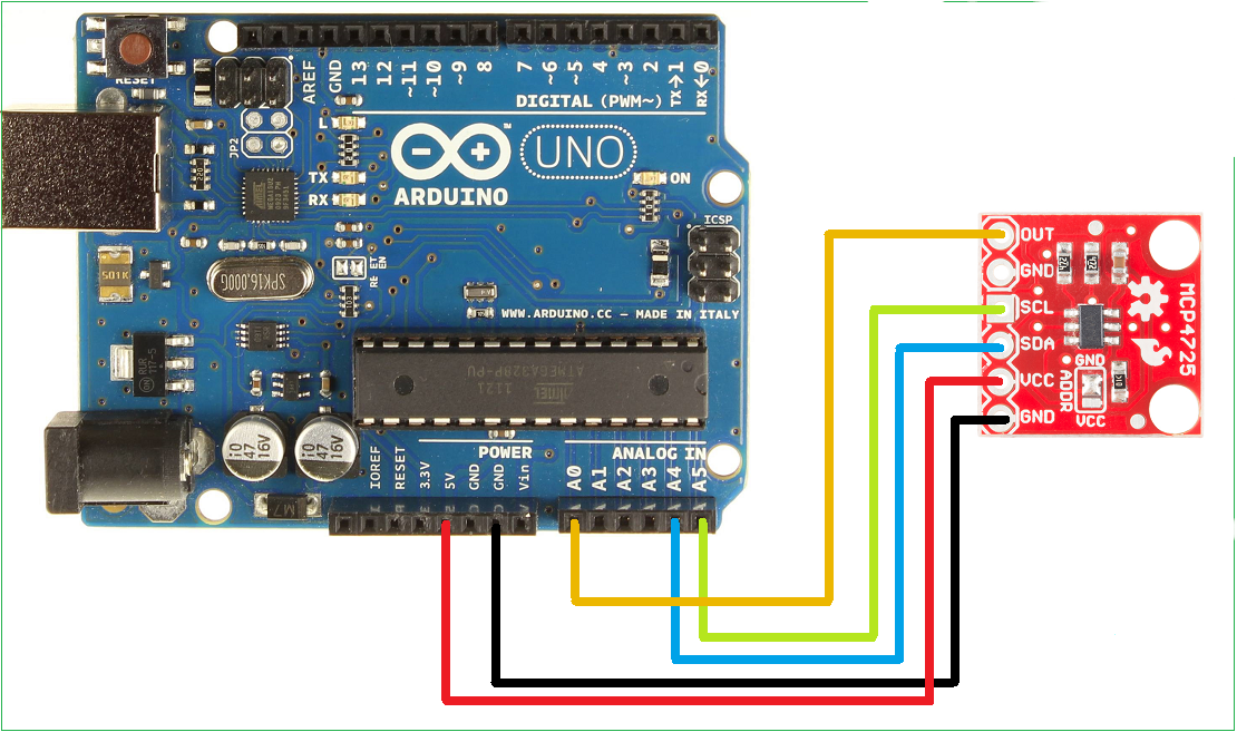 Connecting the MCP4725 DAC to the Arduino